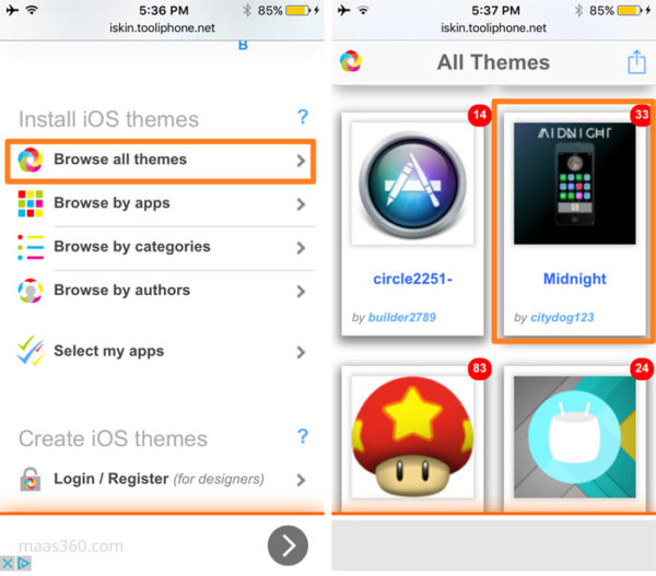 Установка новой темы оформления на iPhone и iPad через iSkin - шаг 2