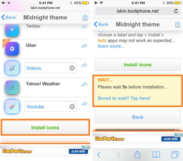 Установка новой темы оформления на iPhone и iPad через iSkin - шаг 4