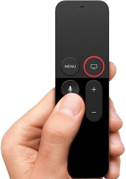 Выключение Apple TV с помощью пульта - шаг 1