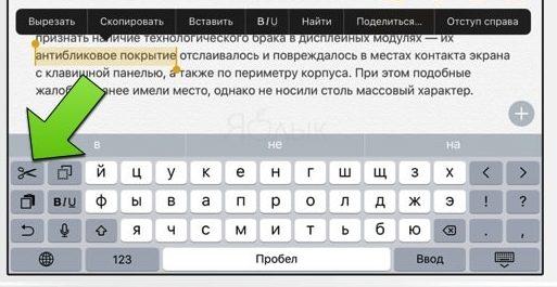 Редактирование текста в iOS с помощью полноэкранной клавиатуры - шаг 2