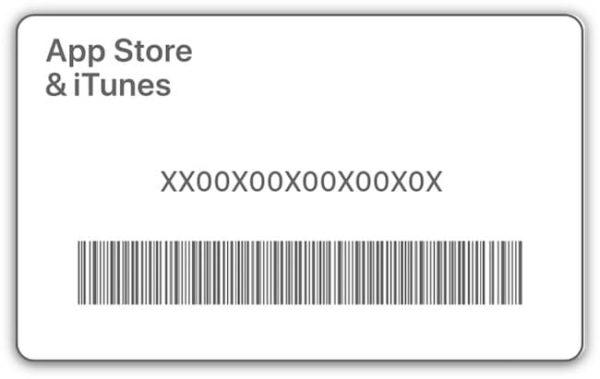 Расположение кода на подарочной карте Apple