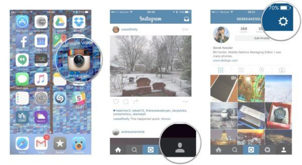 Настройки в Instagram для iPhone