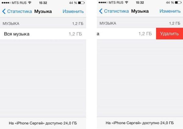 Удаление музыки из памяти iOS