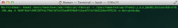 Команда в терминале для открытия файла vfdecrypt