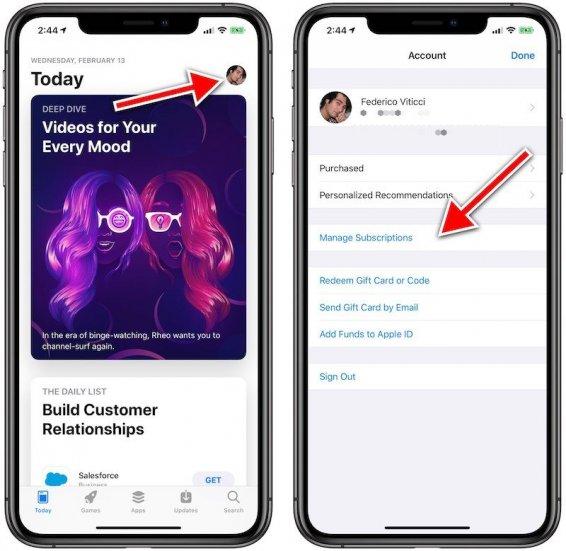 Отмена платной подписки на приложения в новых версиях iOS - шаг 1