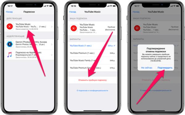 Отмена платной подписки на приложения в новых версиях iOS - шаг 2