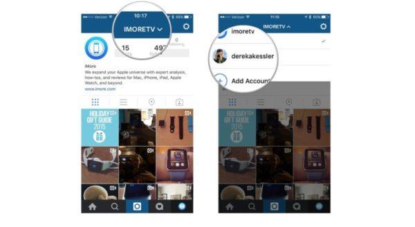 Переключение между аккаунтами Instagram для iPhone