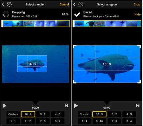 Вырезание видео в приложении Video Crop