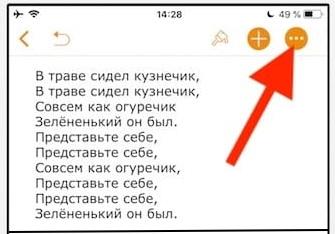 Кнопка с тремя точками в Pages на iOS
