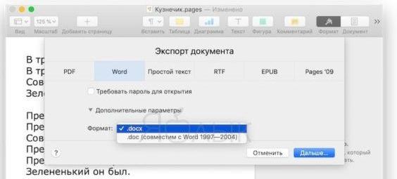 Опция «Дополнительные параметры» в Pages