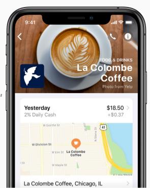 Отображение места совершения платежа на карте в Apple Card