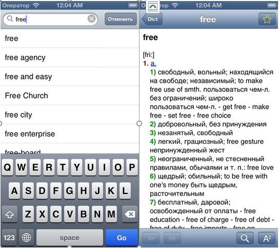 Словарь Dict EN-RU для iOS