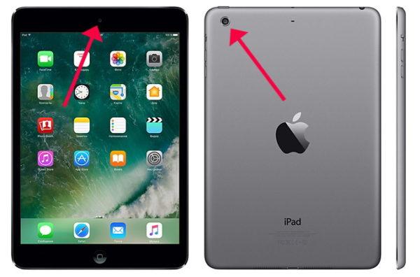 Расположение камер iPad Air и iPad mini 2