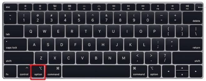 Кнопка Option на MacBook Air
