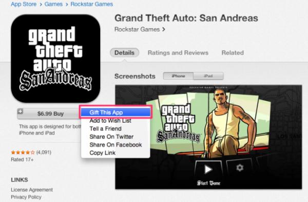 Дарение программ в iTunes на Mac