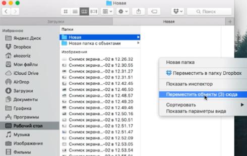 Горячие клавиши Option + Command + V для перемещения объектов