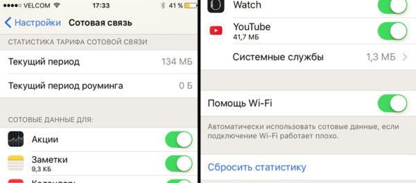 Сброс статистики расхода трафика в iOS