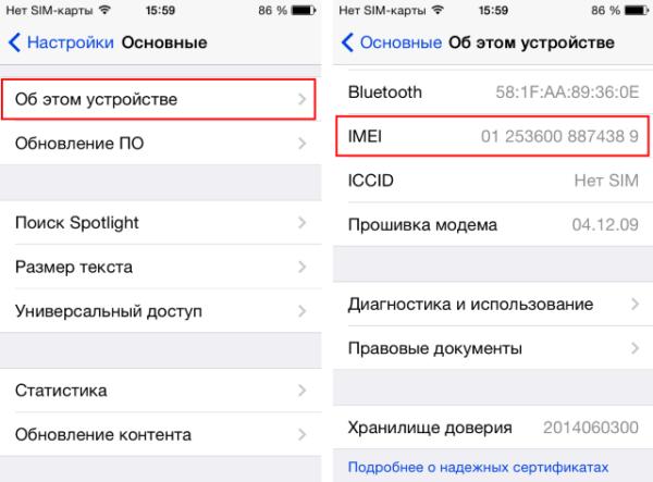 Проверка залоченности iPhone без подключения к сети - шаг 1