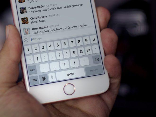 Кнопка диктовки на клавиатуре iPhone