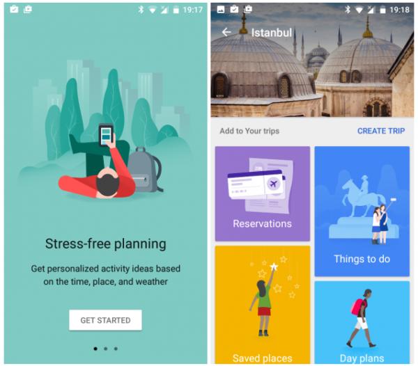 Интерфейс Google Trips