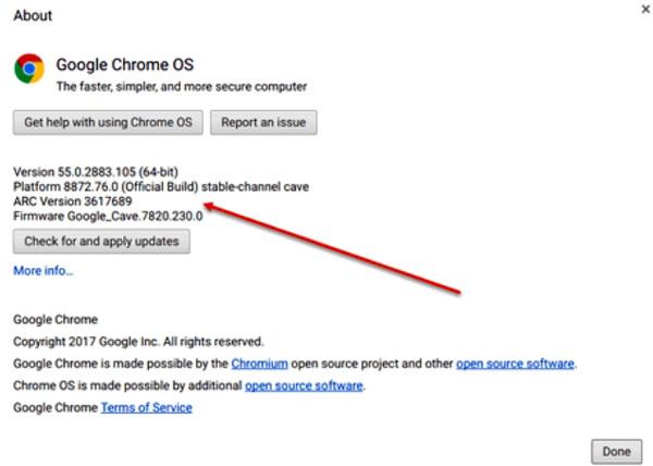 Проверка наличия обновлений Chrome OS на Chromebook