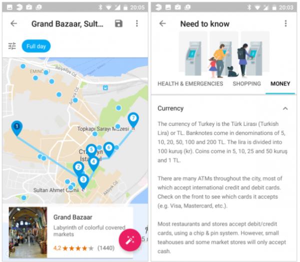 Составление маршрута в Google Trips