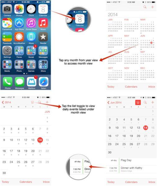 Приложение «Календарь» на iPhone