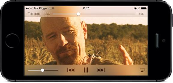 Приложение «Видеопроигрыватель» на iPhone