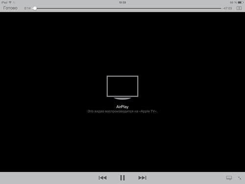 Запуск полноэкранного режима просмотра на iPad при использовании AirPlay
