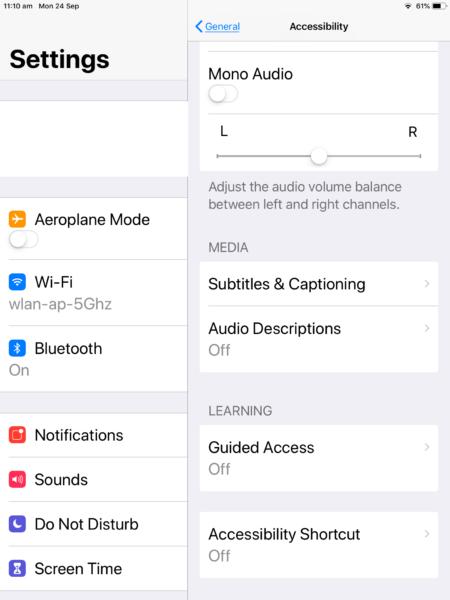 Включение моно-аудио в iOS 12